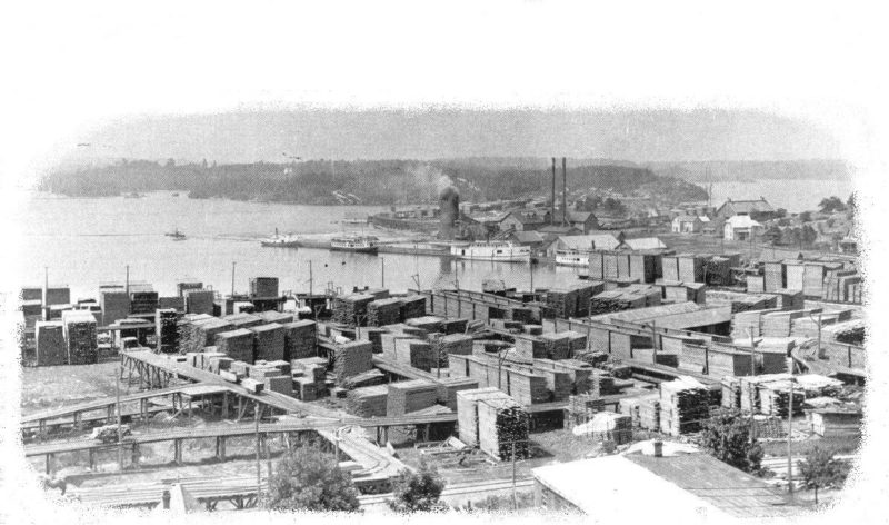 Parry Sound harbour and lumber yard, circa 1909.
