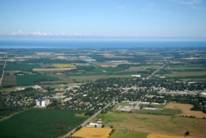 Agricultural fields surrounding Clinton, Ontario, with Lake Huron in the distance. Photo credit: Daniel Holm Photography