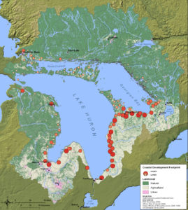 Map of Lake Huron Threats